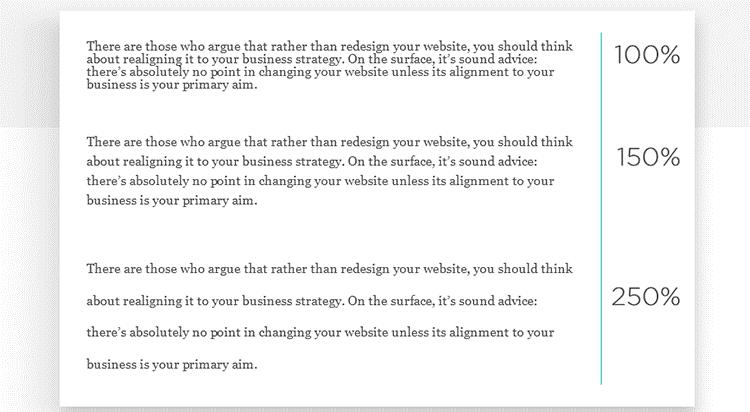 Legibilidade e espaçamento do site